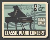 Classical Piano Concert And Orchestra Harp Musical In City Hall. Vector Jazz Band Or Classical Music poster
