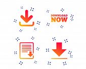 Download Now Icon. Upload File Document Symbol. Receive Data From A Remote Storage Signs. Random Dyn poster