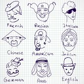 picture of stereotype  - A set of different stereotypes of nationalities from all over the world - JPG