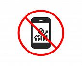 No Or Stop. Smartphone Audit Or Statistics Icon. Business Analytics With Charts Symbol. Prohibited B poster