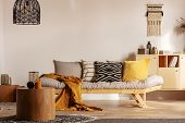 Scandinavian Sofa With Pillows And Dark Yellow Blanket In Bright Living Room Interior With Black Cha poster