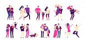 Romantic People Set. Happy Couples Hug Kiss Boyfriend Girlfriend Lover Beautiful Young Romantic Fami poster