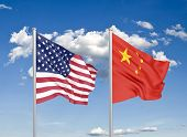 United States Of America Vs China. Thick Colored Silky Flags Of America And China. 3d Illustration O poster