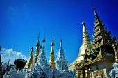 stock photo of yangon  - In the golden Shwedagon Pagoda In Yangon City while riding the circular train which costs  - JPG