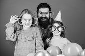 Fancy Party. Family Of Father And Daughters Wearing Party Goggles. Family Party. Happy Family Celebr poster