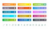 Web Buttons. Internet Modern Colored Flat Icons And Buttons Template Vector Ui Elements. Illustratio poster