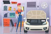 Mechanic In Garage. Auto Service Man Fixing Repairing Vehicle Vector Cartoon Background. Illustratio poster