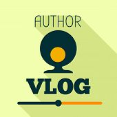Author Vlog Logo. Flat Illustration Of Author Vlog Vector Logo For Web Design poster