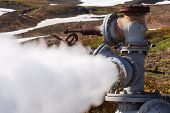 Emission Of Natural Mineral Thermal Water, Steam-water Mixture From Geological Well In Geothermal De poster