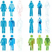 stock photo of xx  - A set of abstract Human gender icons - JPG