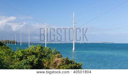 Florida Keys Bridge And Power Pylons