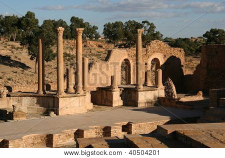 Ancient Amphitheater in the Ancient Roman City of Sbeitla, Tunisia