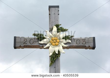 Detail And Close-up: Summit Cross With Edelweiss