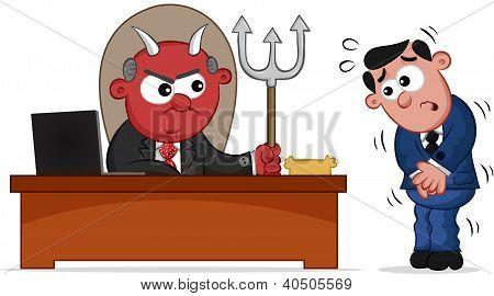 Business Cartoon - Devil Boss Man and Employee