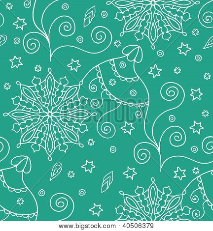 Green Christmas Seamless Pattern With Snowflakes