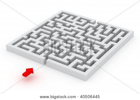 labyrinth and the red arrow, 3d image