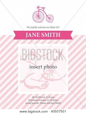 Baby girl birth announcement card template with bicycle illustration