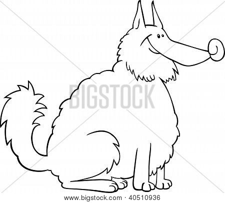 Spitz Dog Cartoon For Coloring Book