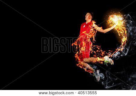 Jogador de basquete com uma bola