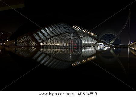 Nightfall Scenery Of The Hemisferic In Valencia, Spain