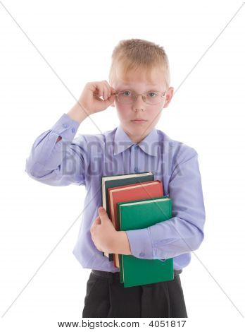 Boy Embrace Three Interesting Books And Correct Eyeglasses