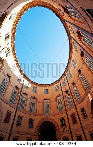 Oval Blue Sky In In Italian Urban Court