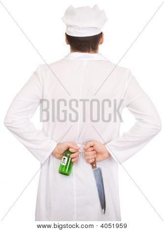 Cocinar con cuchillo y verde botella