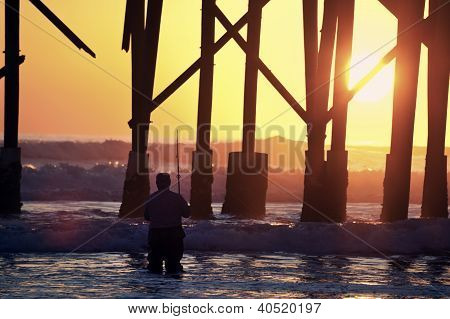 Sunrise Fishing By The Pier
