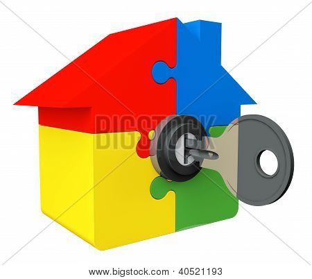 House From Puzzle With Key And Lock