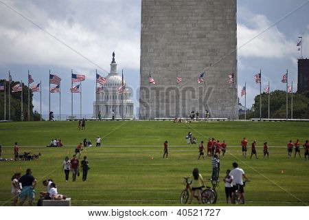 People Visiting The Area Of Washington Monument