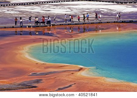 Crowds Visiting Grand Prismatic Spring