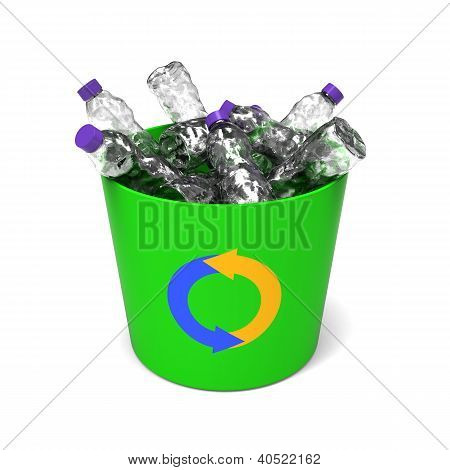 Plastic bottles in a recycle bin