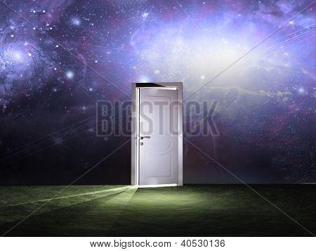 Puerta antes cielo cósmico