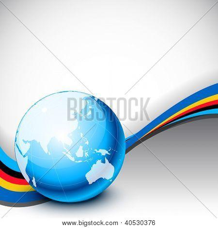 Modelo profissional corporativa ou de negócios para apresentações financeiras, mostrando o globo. EPS 10.
