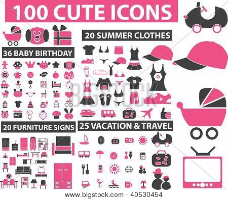100 cute icons - clothes, furniture, vacation, baby birthday set, vector