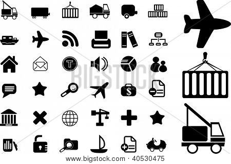 logistics, transport icons set, vector