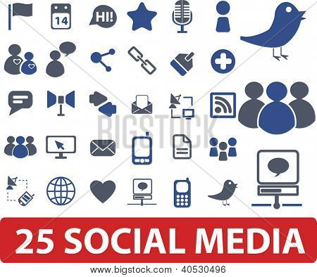 25 social media icons set, vector