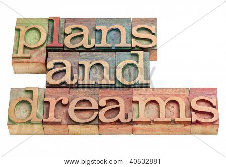 plans and dreams -isolated words in vintage letterpress wood type printing blocks