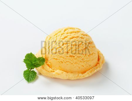 isolated ice cream scoop with mint