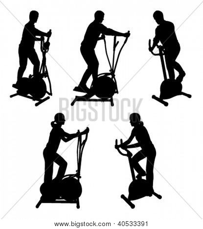 silhouettes of fitness people on gym bike