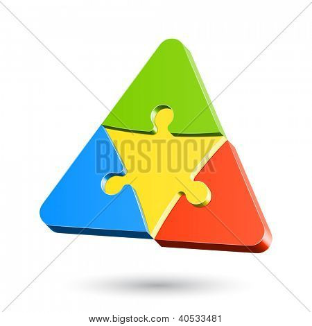 Puzzle triangle. Vector.