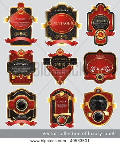 Vintage Labels Collection for a product. Sticker template with design elements. Set of chocolate golden vector illustration tags.