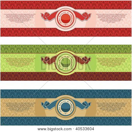 Vintage Labels Collection for a product. Sticker template with design elements Set of decorative vector illustration tags