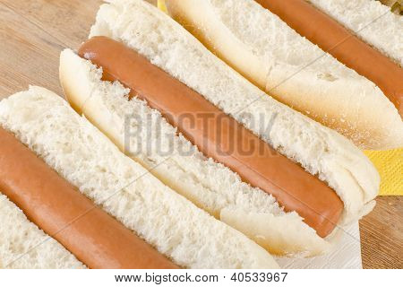 Simple Plain Hot Dogs Close Up.