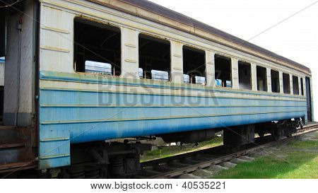 lonely railway car without windows