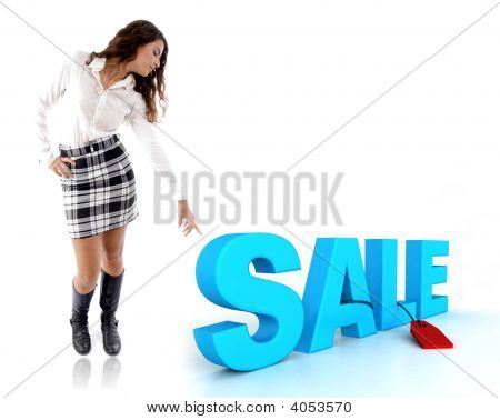 Woman Pointing Sale Text