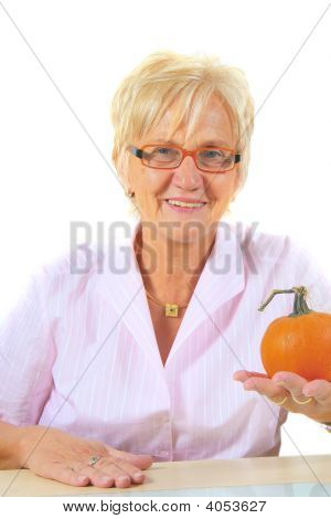 Business Woman With Pumpkin