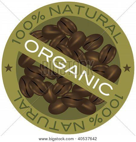 Ilustración de granos de café orgánico de la etiqueta