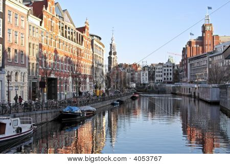 Amsterdam Innercity With The Munttower In The Netherlands