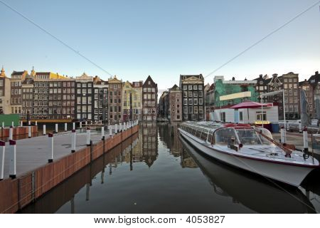 View On Amsterdam Innercity  With Cruiseboat In The Netherlands